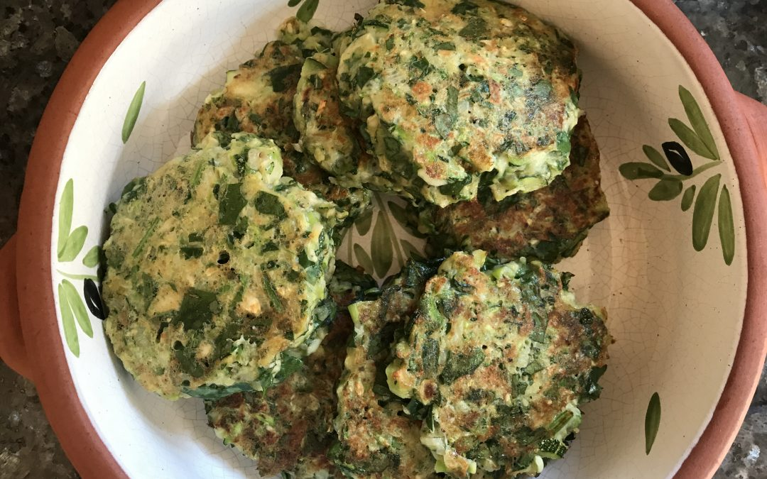 Recipe: Courgette, spinach & mint fritters